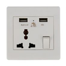 13A 1 Gang Double Power Wall Socket Face Plate USB Charge Outlet Port Mains